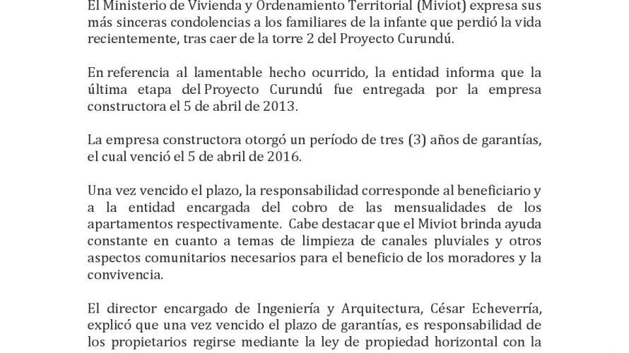 COMUNICADO DE PRENSA Miviot lamenta muerte de menor en edificio de Curundú El Ministerio de Vivienda y Ordenamiento Territorial (Miviot) expresa sus más sinceras condolencias a los familiares de la […]